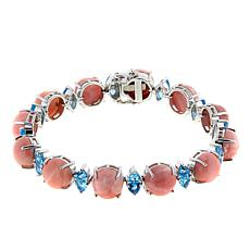 Paul Deasy Gem Sunset Pink Opal and Swiss Blue Topaz Line Bracelet