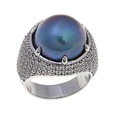 Perlaviva Couture Gray Cultured Pearl Pavé Ring