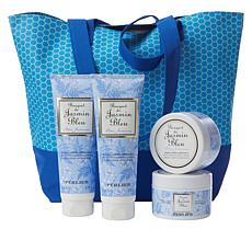 Perlier Blue Jasmine 4-piece Kit with Woven Tote Bag