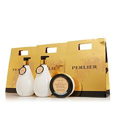 Perlier Honey & Sweet Cream 3-piece Bath and Body Set with Bags
