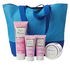 Perlier Pink Peony 4-piece Kit with Woven Tote