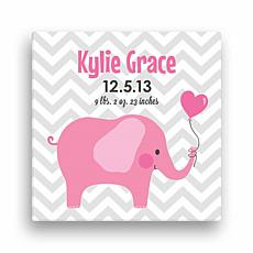 "Personalized 12"" x 12"" Elephant Canvas - Baby Girl"