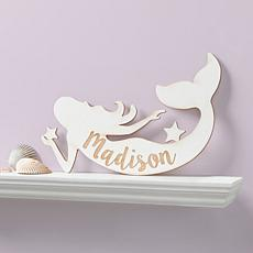 Personalized Antique White Mermaid Wood Plaque
