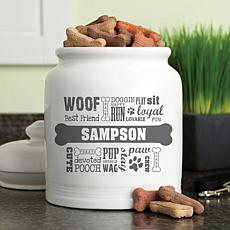 Personalized Dog Words Gray Treat Jar