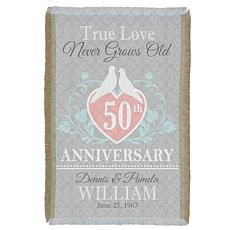 "Personalized ""True Love"" Anniversary Throw - 36"" x 54"""