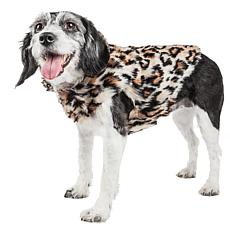 Pet Life Luxe Lab-Pard Dazzling Leopard Pattern Faux Mink Fur Dog Coat