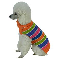 Pet Life Tutti-Beauty Rainbow Cable Knit Ribbed Turtleneck Dog Sweater