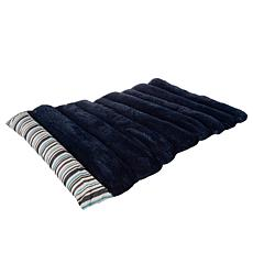 PETMAKER 24x37 inch Roll Up Travel Portable Dog Bed - Blue Stripe