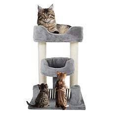PETMAKER 3-Tier Cat Tree Scratching Posts and Cat Condo  Bed - Gray