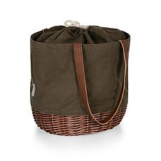 Picnic Time Coronado Basket Tote - Khaki Green with Beige Accents