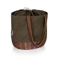 Picnic Time Coronado Basket Tote - Khaki Green with Beige Accents