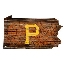 Pittsburgh Pirates 24in. Distressed State w/Logo Sign