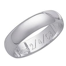 Platinum-Plated Sterling Silver Engravable Ring