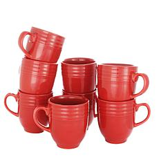Plaza Cafe 14 oz Mug Set in Red, Set of 8