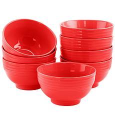 """Plaza Cafe 6"""" Bowl Set in Red, Set of 8"""