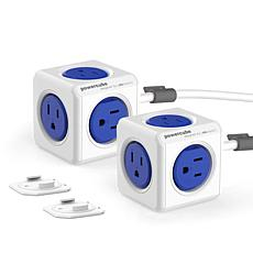 PowerCube Extended 2-pack 5 Socket Surge Protector with 5 ft. Cable