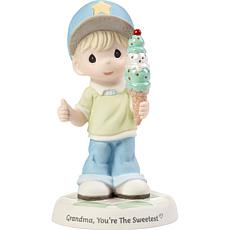 Precious Moments G-ma You're The Sweetest Boy w Cone Porcelain Figure