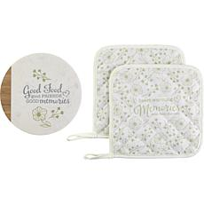 Precious Moments Memories 3pc Kitchen Trivet And Potholder Gift Set
