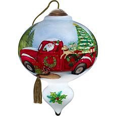Precious Moments Ne'Qwa Art Blown Glass Santa Truck and Dog Ornament