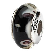 Prerogatives Sterling Silver Black and Gray Handblown Glass Bead