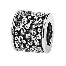 Prerogatives Sterling Silver Floral Bead