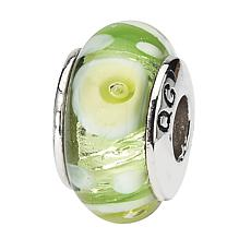 Prerogatives Sterling Silver Green and White Handblown Glass Bead