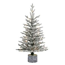 Puleo International 3' Lit Potted Flocked Artificial Christmas Tree