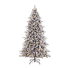 Puleo International 6.5' Pre-Lit Flocked Fir  Christmas Tree