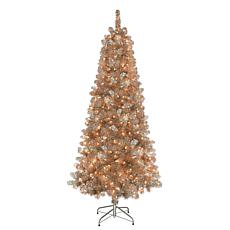 Puleo International 6.5' Rose Gold Tinsel  Christmas Tree