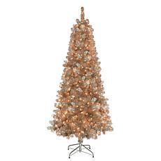 Puleo International 6.5' Rose Gold Tinsel  Christmas Tree