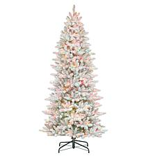 Puleo International 7.5'Lit Flocked Slim Fir Artificial Christmas Tree