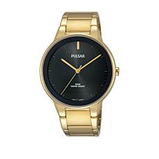 Pulsar Men's Black Dial Goldtone Stainless Steel Bracelet Watch