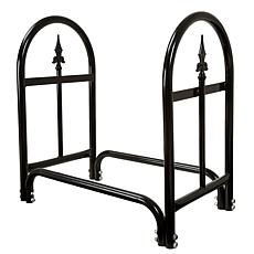 Pure Garden Fireplace Log Rack with Finial Design - Black