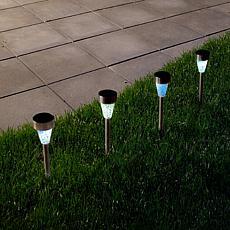 Pure Garden Stainless Steel Solar-Powered LED Mosaic Pillar Set of 4