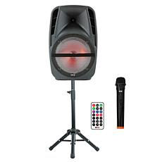 """QFX 15"""" Portable Party Speaker with Wireless Microphone and Stand"""