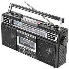QFX ReRun X Cassette Player Boombox with 4-Band Radio & MP3 Converter