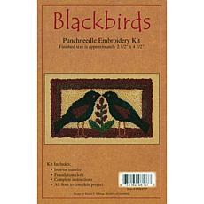 "Rachel's 2-1/2"" x 4-1/2"" Punch Needle Kit - Blackbirds"