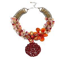 "Rara Avis by Iris Apfel 17"" Floral Collar Drop Necklace"