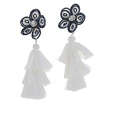 Rara Avis by Iris Apfel Beaded Flower Clip-On Tassel Earrings