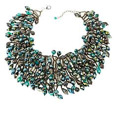 Rara Avis by Iris Apfel Beaded Green Waterfall Necklace