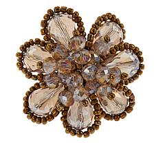 Rara Avis by Iris Apfel Beaded Stone Adjustable Floral Ring