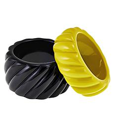 Rara Avis by Iris Apfel Black and Mustard 2-piece Bracelet Set