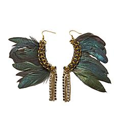 Rara Avis by Iris Apfel Black Feather Earrings