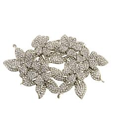 Rara Avis by Iris Apfel Clear Crystal Floral Brooch