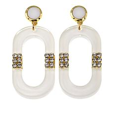 Rara Avis by Iris Apfel Clear/White Pavé Resin Link Earrings