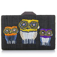 Rara Avis by Iris Apfel Embroidered Black Owl Clutch