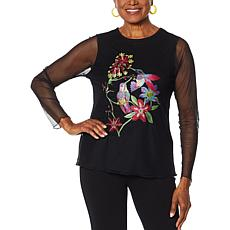 Rara Avis by Iris Apfel Embroidered Mesh T-Shirt