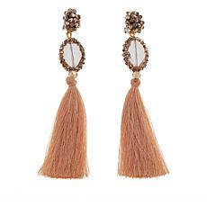 Rara Avis by Iris Apfel Floral Beaded Tassel Earrings