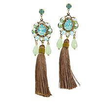 Rara Avis by Iris Apfel Green Crystal Tassel Earrings