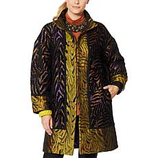 Rara Avis by Iris Apfel Jacquard Coat with Pockets
